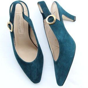 Etienne Aigner Blue Suede Sling Gypsy Heels 8